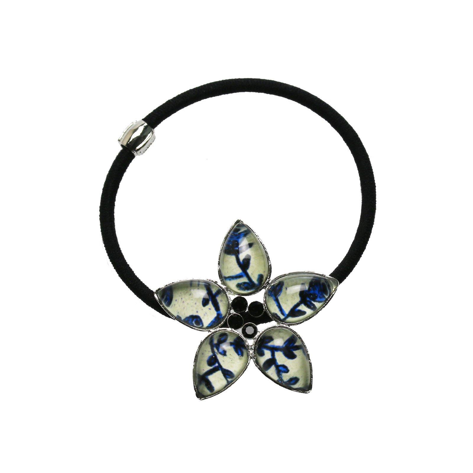 Tamarusan Blue Flower Pattern Ponytail Holder Nickel Free Swarovski Rhinestones