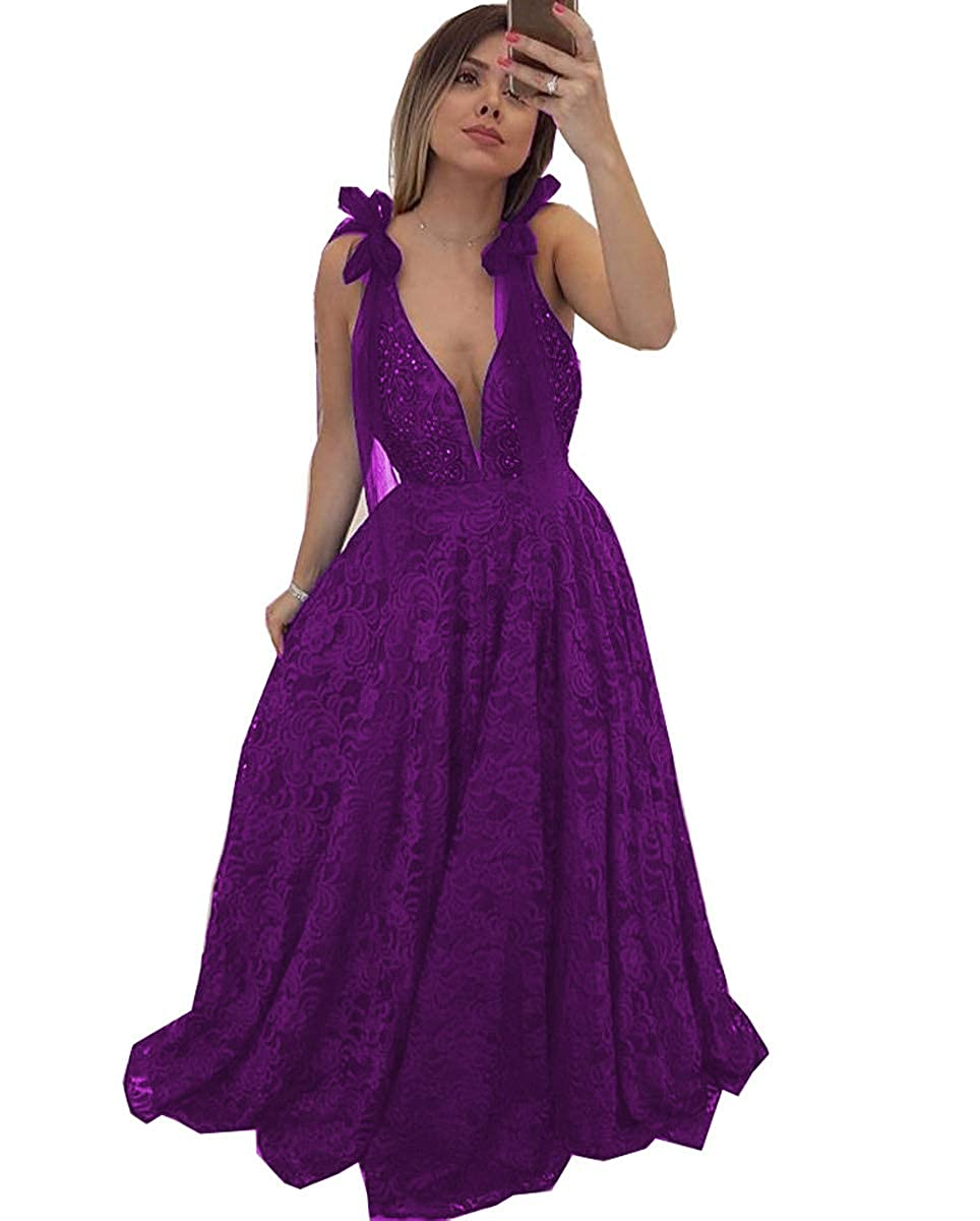 Purple MariRobe Women's Lace Appqiue Beaded Prom Gowns Deep Veck Evening Dresses Formal Gowns