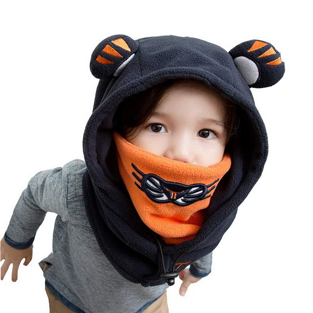 Dinokids Unisex-Baby Balaclava windundurchlässiges Gesichtsmaske und Winter-Warmer Cartoon Tiger Gesichts-Abdeckungs-Hut