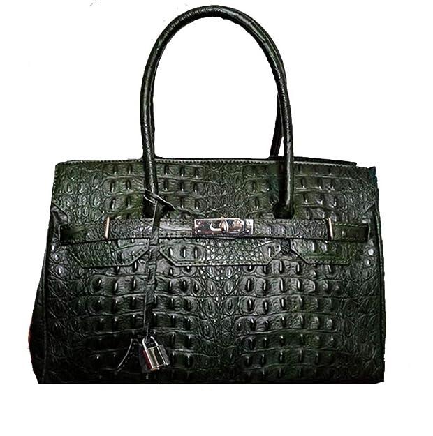 6a5aaf2f616a Black Ostrich Pattern Italian Handbag - Genuine Leather Birkin Inspired  Luxury Tote  Handbags  Amazon.com