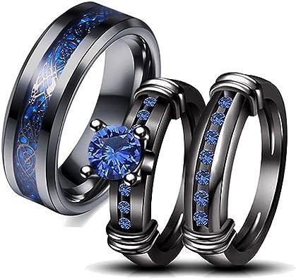 Amazon.com: Juego de anillos de pareja para novia, de acero ...