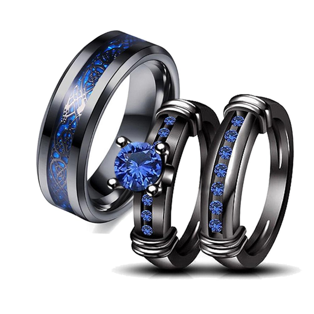 LOVERSRING Couple Ring Bridal Set His Hers Women Black Gold Plated Blue CZ Men Celtic Dragon stainless steel Wedding Band Jewelry