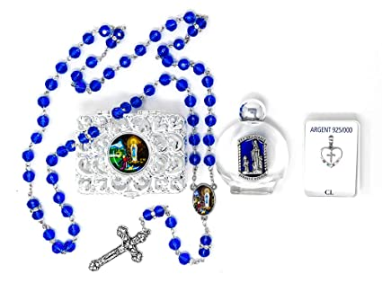 Lourdes Holy Water Gift Set with 925 Apparition Pendant/Medal & Lourdes Rosary Beads/