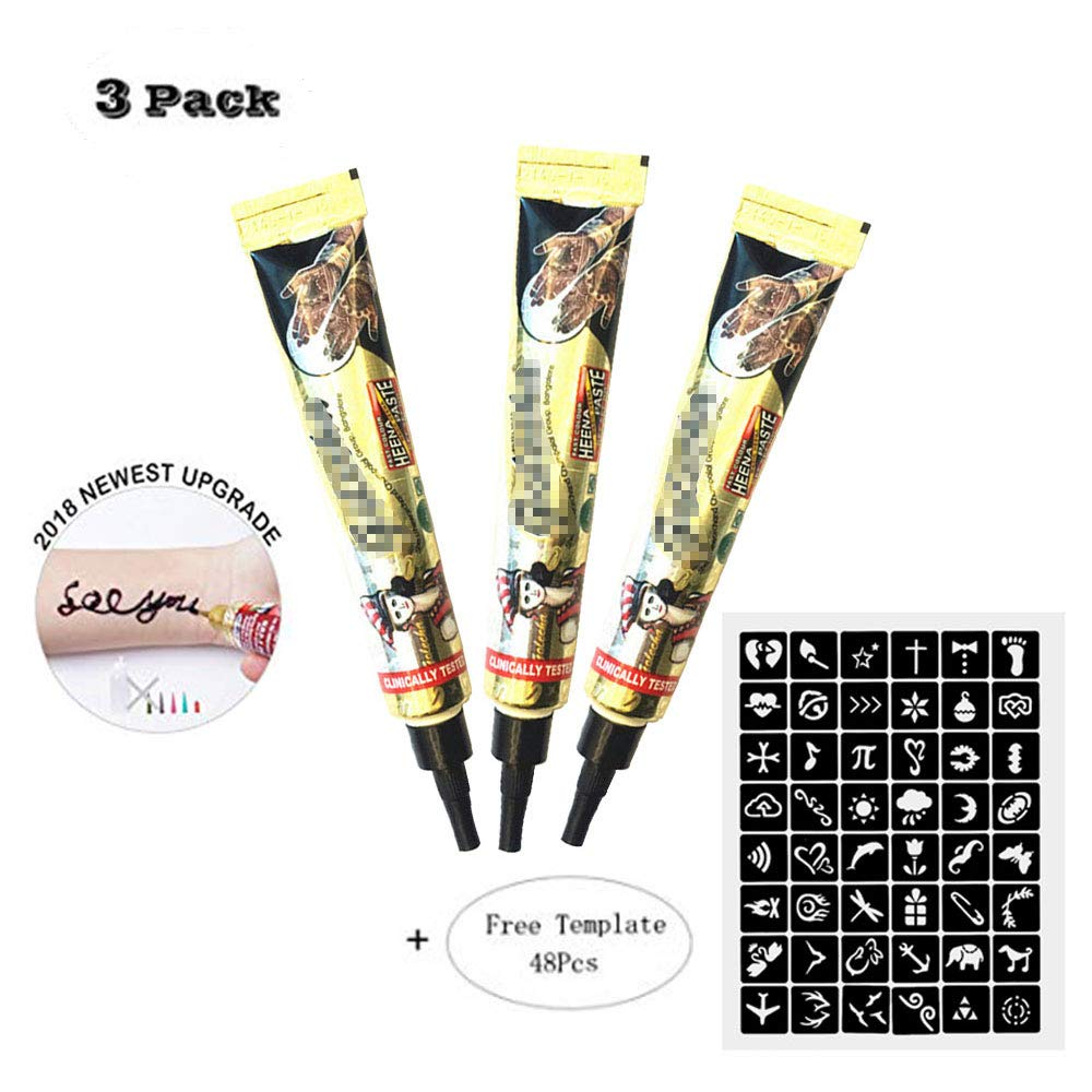 3 Pack Upgraded Temporary Tattoo Paste Cone India Art Drawing Kit Tattoo Stickers with 48 x Adhesive Stencil, Color Black