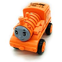 FunBlast Pull Push Back Action Train Toy for Kids, Push Back Bump & Go Train Engine Toy Set for Kids (Orange)