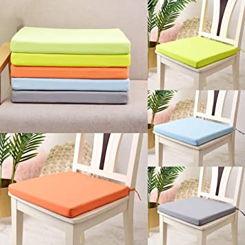 vikitim Waterproof Square Seat Cushion,40x40cm Removable Solid Square Chair Cushion Outdoor Tie On Garden Patio Waterproof Seat Pad Cov Blue