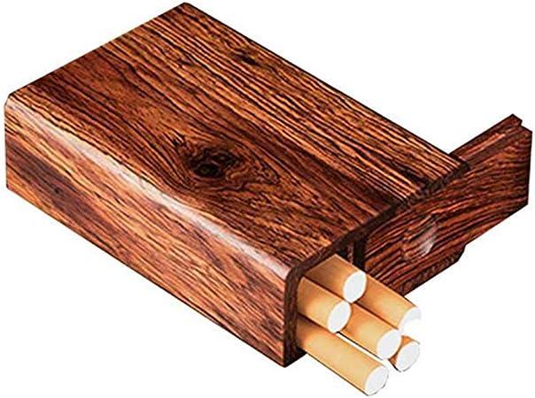 QJIAXING Caja De Cigarrillo De Madera Mini Retro Portátil Cigarrillo Cuadro 20 Sticks Cigarrillos,Wood,84Mm: Amazon.es: Hogar