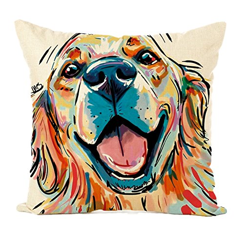 Easternproject Cute Pet Dog Painting Cotton Linen Throw Pillow Case Cushion Cover Square Animal Pillow Covers Home Decor 18 x 18 Inch (1# Golden Retriever)