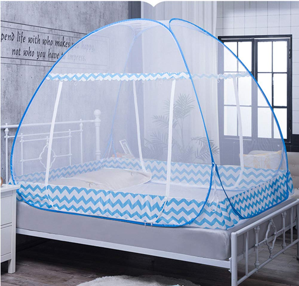 HCMPM Mosquito net Double Door yurt pop-up Bed Bold Account Yarn Free Installation Collapsible for Baby Adult Home Dormitory Single Bed Mosquito net,SkyBlue,180200cm