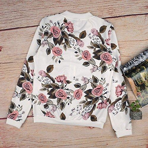 Manches Minetom Femmes Courte Zipper Floral Cou Veste Imprimé Du Col Longues Ras Manteau Collier CTCIq