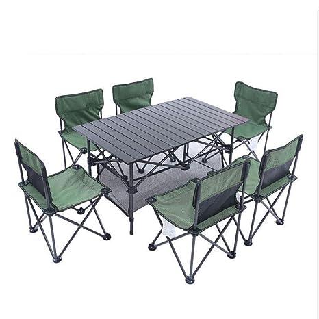 LCTZDY Mesa de Camping con 6 taburetes. Juego de Picnic ...