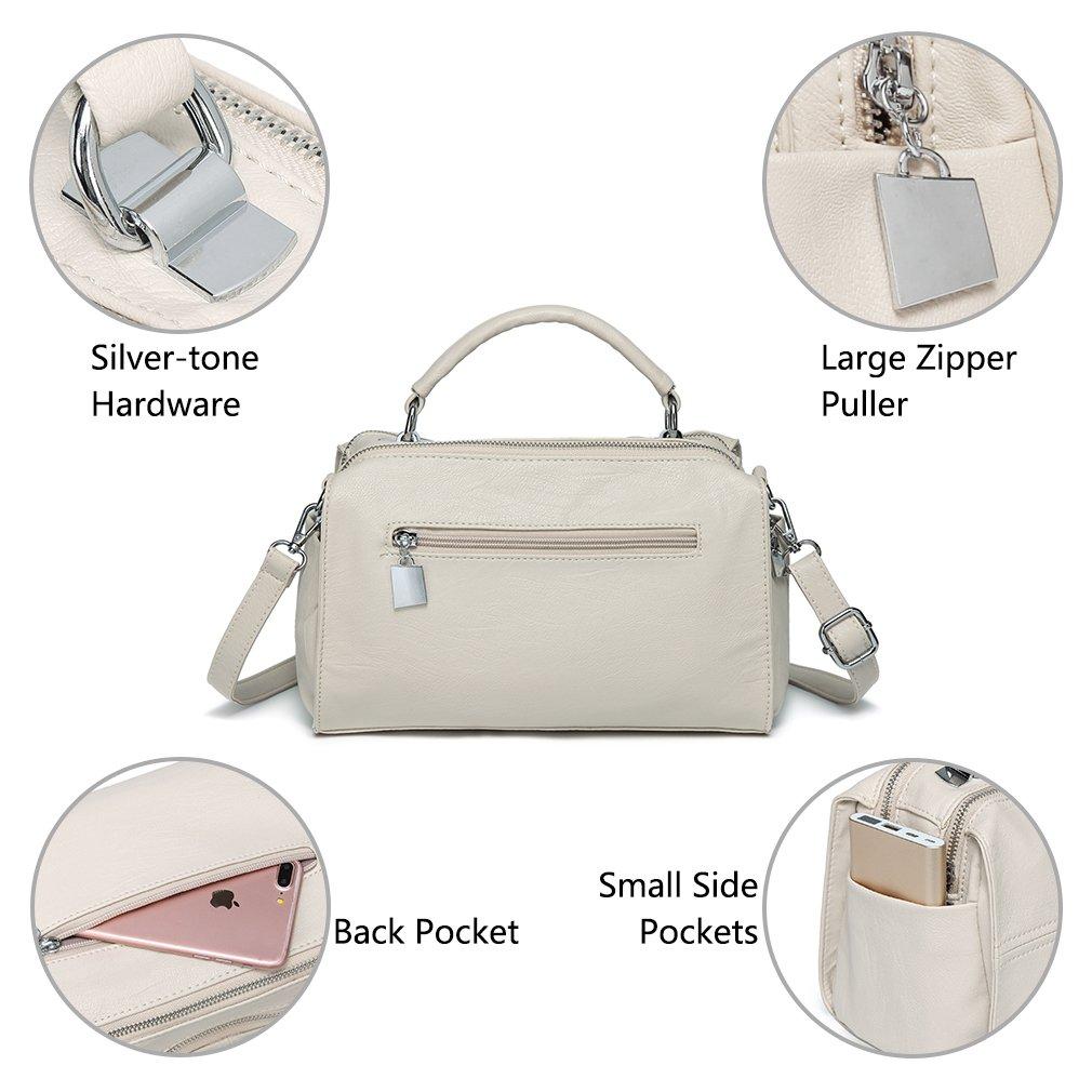 Vegan Leather Top Handle Satchel Handbag Fashion Shoulder Bag Purse VASCHY Crossbody Bags for Women