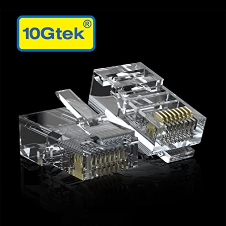 100 x RJ45 Plug Cat5E Cat 5 Rj-45 Lan Connector Network 100 pack for Solid Wire