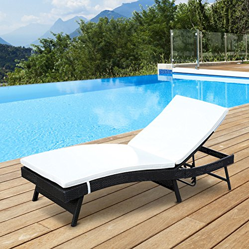 Pool & Beach Chaise Lounge Adjustable Chair Outdoor Patio Furniture Recliner Lounger Wicker Cushion (Fortunoff Outdoor Furniture Cushions)