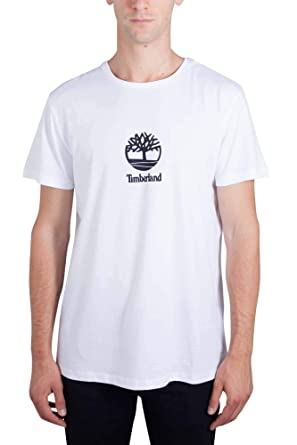 best loved 18dae 5e39d Timberland Uomo - T- Shirt in Jersey di Cotone Bianco con ...