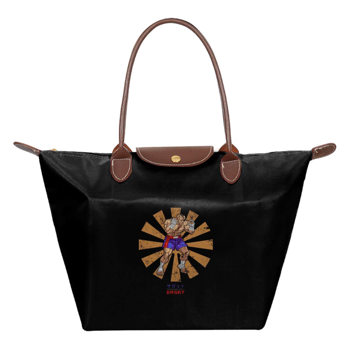 Street Fighter Sagat Retro Japanese Waterproof Leather Folded Messenger Nylon Bag Travel Tote Hopping Folding School Handbags