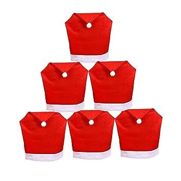Tenrany Home Rojo Decoración Navideña Fundas para Sillas, Juego de 6 Gorro de Papá Noel Cubiertas de la Silla Cubre Respaldos Navideños para Decoración ...