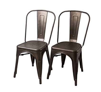 Buschman Set Of Two Bronze Tolix Style Metal Indoor/Outdoor Stackable Chairs  With Back