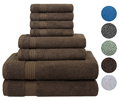Cotton Paradise Ultra Soft 8 Piece Towel Set, 100% Combed Cotton Maximum Absorbent and Eco-Friendly - 2 Oversized Large Bath Towels 30x54, 2 Hand Towels 16x30, 4 Wash Cloths 13x13 (Dark Brown)