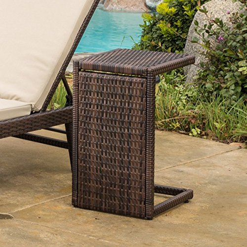 Patio Furniture / Coffee Table,Christopher Knight Home Bucharest Outdoor Wicker Accent Table 297003 (24.25'' H x 14.25'' W x 15.50'' D)