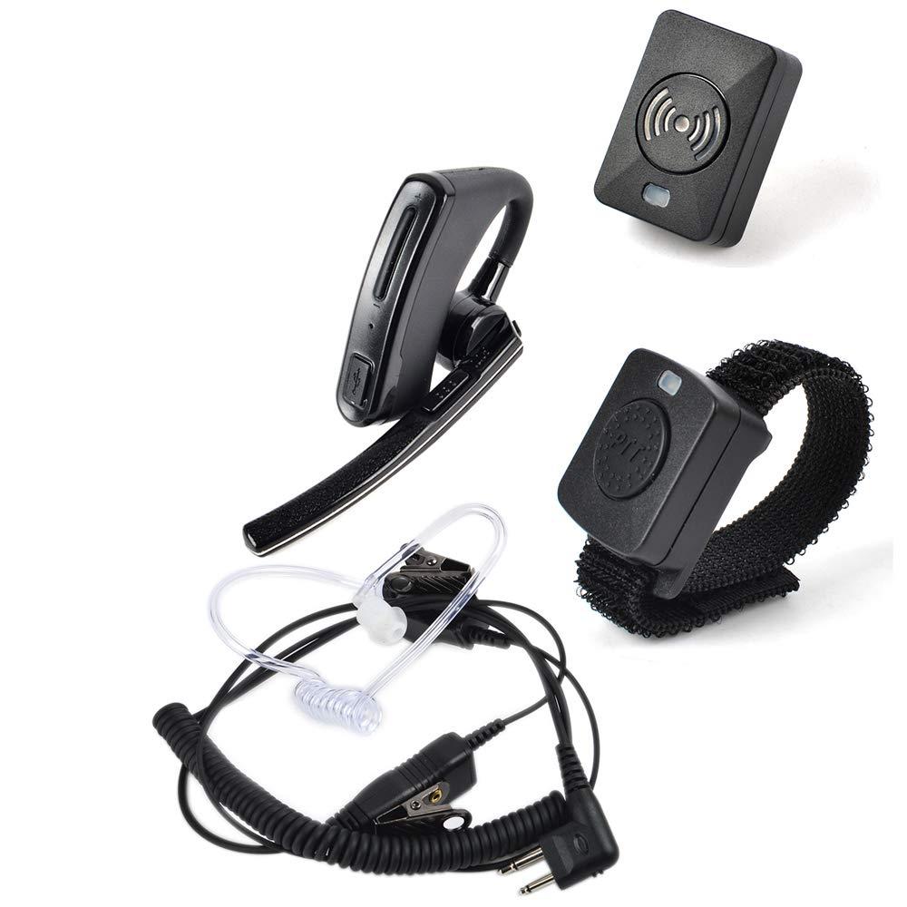 HYS ワイヤレス Bluetooth トランシーバー イヤホン ワイヤレス PTT/ドングル ワイヤー イヤホン/ヘッドセット PTT マイク 2ピン 監視キット マイク アコースティックチューブ イヤホン モトローラ CP200 CLS1110 CLS1413 CLS1450   B07QN9JZX8