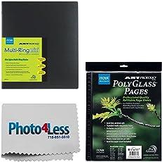"Itoya Art Profolio Multi-Ring Mini Refillable Binder - 8.5 x 11"" (20 Sheets) + Itoya Art Portfolio Polyglass Refill Pages (Set of 10) 8.5"" x 11"" PR811 + Photo4Less Cleaning Cloth + Presentation Bundle"