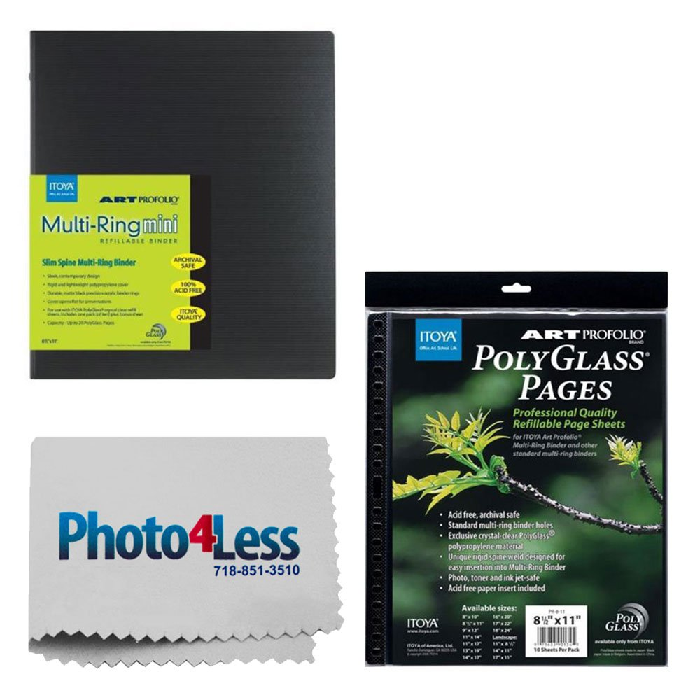 Itoya Art Profolio Multi-Ring Mini Refillable Binder - 8.5 x 11 (20 Sheets) + Itoya Art Portfolio Polyglass Refill Pages (Set of 10) 8.5'' x 11'' PR811 + Photo4Less Cleaning Cloth + Presentation Bundle by Photo4Less