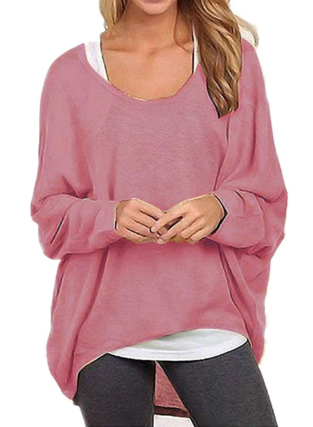 38cf7a54250 I2CRAZY Women s Casual Tunic Tops Oversized Long Batwing Sleeve Off-Shoulder  Pullover Shirts Tops at Amazon Women s Clothing store