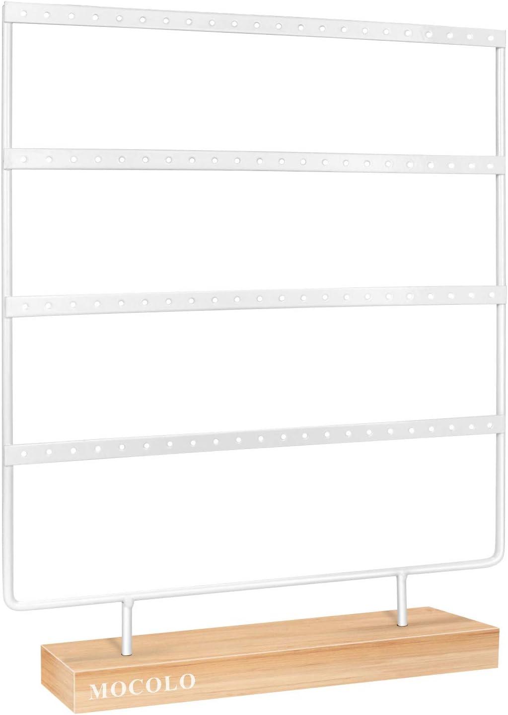Soporte para pendientes, organizador de pendientes, soporte de exhibición para pendientes colgantes (88 agujeros y 4 capas) (blanco)