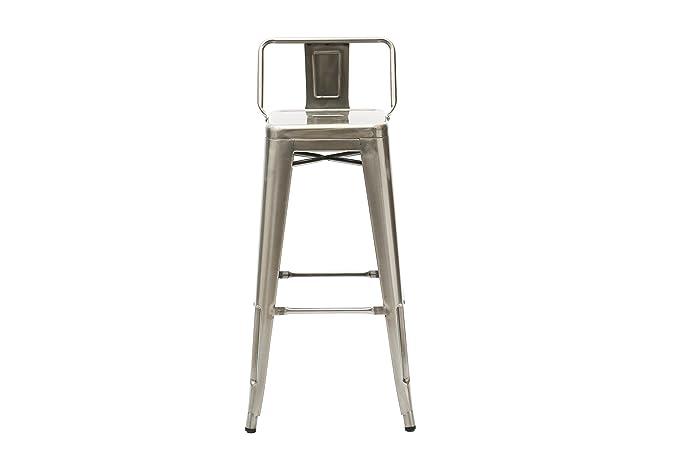 White loft wl set sgabello alto con schienale metallo