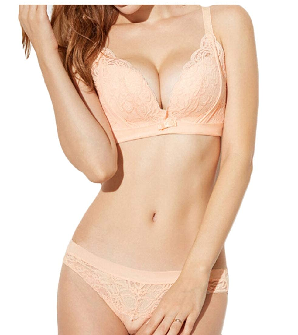 ad9af696f2902 OneTwoTG Women Sexy Lingerie Set Soft Lace Bra and Panty Sets Wireless 1  34A  Amazon.in  Clothing   Accessories