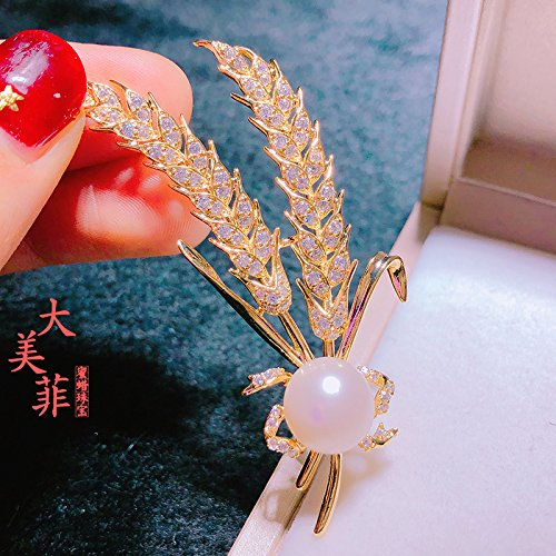 (TKHNE golden harvest wheat brooch pin badge natural freshwater pearl brooch pin badge joy gift choice)