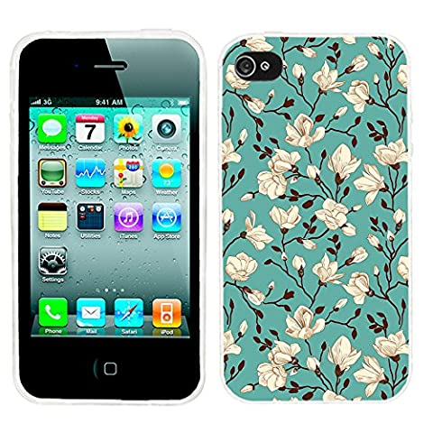 iPhone 4s Case, iphone4s case,iphone 4 case,iphone4 case, ChiChiC full Protective unique Stylish Case slim durable Soft TPU Cases Cover for iPhone 4 4g 4s,blossoming magnolia on green (Iphone 4 Case Artsy)