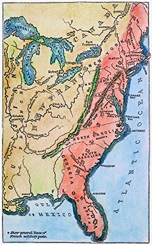 (Colonial America Map Na Map Of The Thirteen Original American Colonies Mid-18Th Century Line Engraving Late 19Th Century Poster Print by (18 x 24))