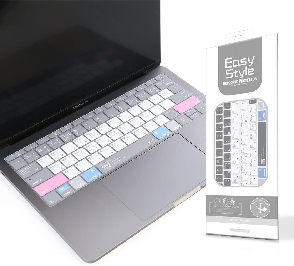 US Layout Ultra Thin Silicone MAC OS Shortcut Keyboard Cover for New MacBook Pro 13//15 Retina Model A1706 A1707 A1989 A1990 2016-2018 Released, with Touch Bar Leze
