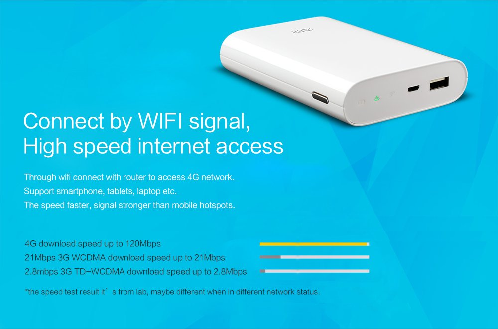 Amazon.com: XIAOMI ZMI MF855 4G Wifi Router Mifi 3G 4G Lte Mobile Hotspot with 7800mAh Battery Power Bank: Cell Phones & Accessories