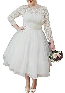 c8de25caba6 Ethel Women s Lace Top Long Sleeves Plus Size Tea-Length Wedding Dresses  Bridal Gowns