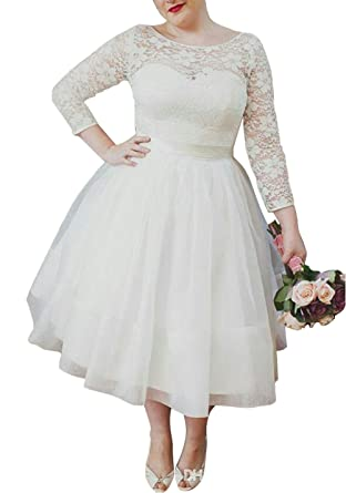 Ethel Women\'s Lace Top Long Sleeves Plus Size Tea-Length Wedding ...