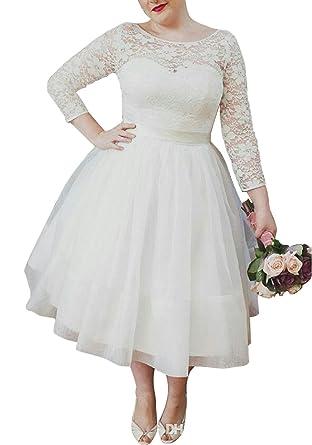 Ethel Women\'s Lace Top Long Sleeves Plus Size Tea-Length Wedding ...