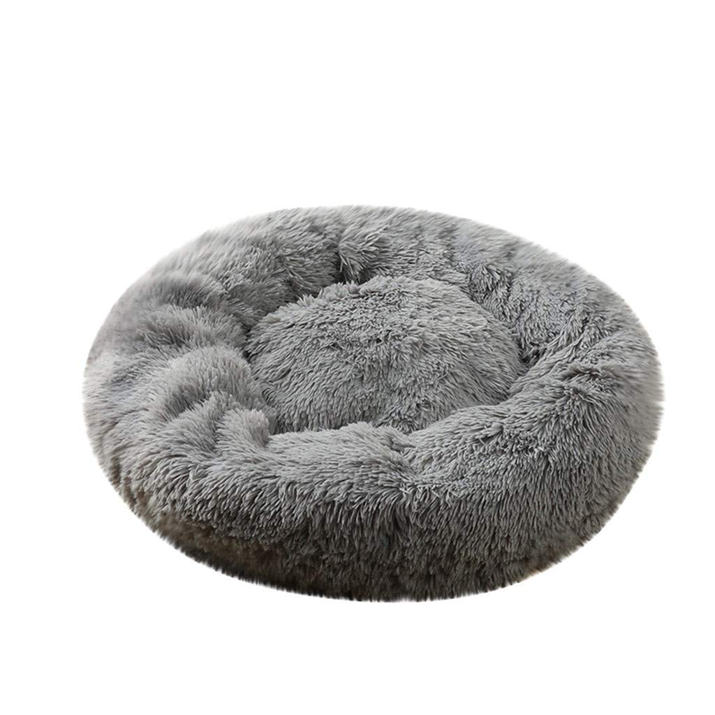 Pet Bed, Dog Cat Breathable Round Bed Winter Warm Sleeping Bag Long Plush Soft Pet Bed Calming Bed (Gray, L) by Aritone - Pet