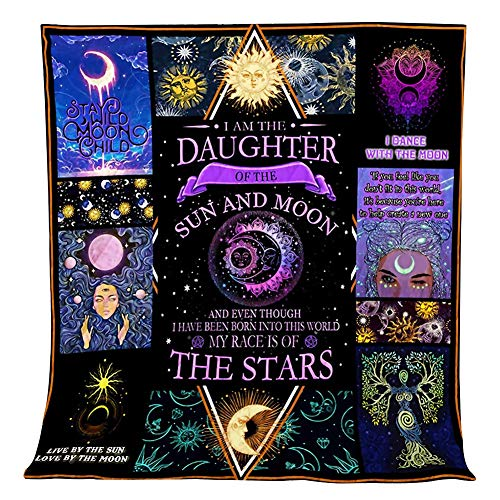 Zehui Trade Daughter Sun and Moon Camping Blanket Quilt Mat for Yoga, Picnic, Beach Blanket, Bedding, Home Decor