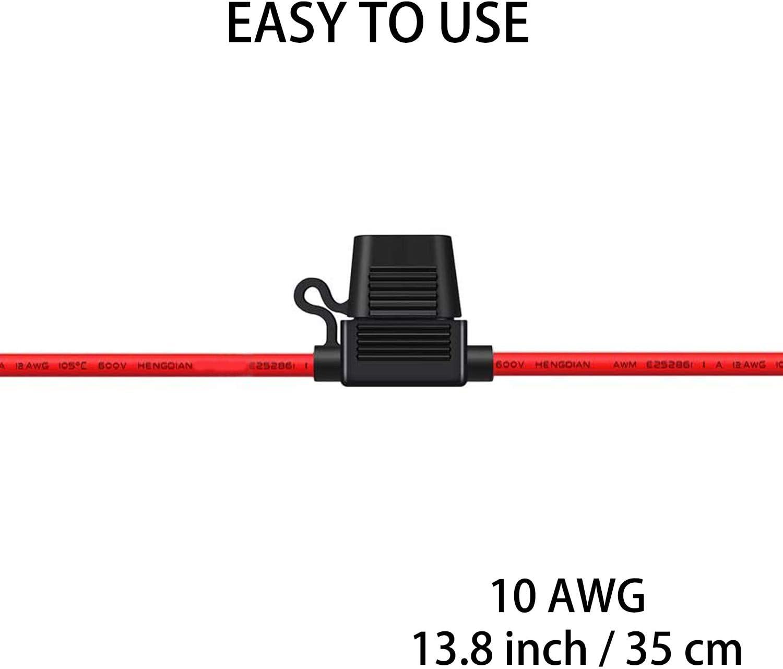 10 Gauge Inline Fuse Holder 4pack 12V-DC Marine In-line Fuse Holder with 40 AMP ATC Blade Fuses