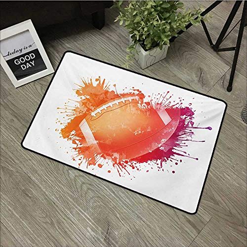 Bedroom Door mat W35 x L59 INCH Sports,Rugby Ball in Digital Watercolors Splash Recreational Leisure Sports Run Design,Orange Red with Non-Slip Backing Door Mat Carpet