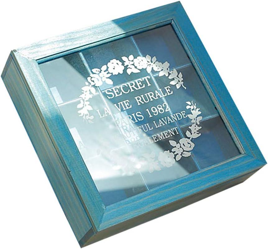 Amandia - Caja cuadrada de madera para 9 té, cosméticos y tesoros: Amazon.es: Iluminación