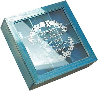 Amandia - Caja cuadrada de madera para 9 té, cosméticos y tesoros ...