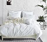 Hyprest Checkered Kids White Duvet Cover Set Twin Soft 3PC Comforter Cover Set Grid Design (Twin)