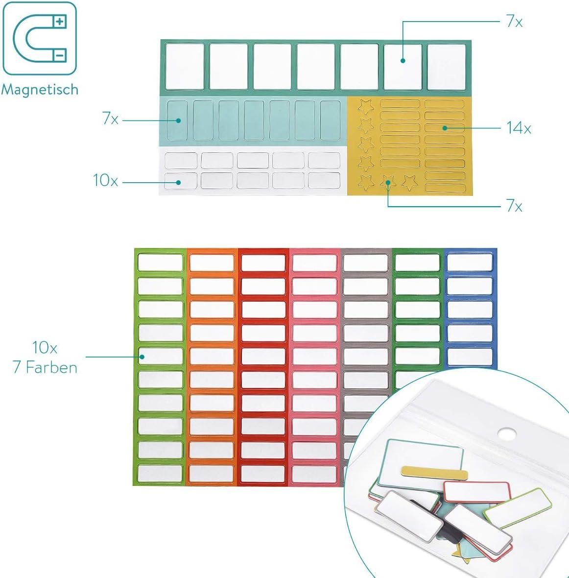 Tabella Pennarello Incluso Blu Navaris Tabellone Organizzazione Ricompense Bimbi Lavagnetta 40x32cm con 115 Sticker Magnetici Personalizzabili