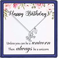 IPUSHA Unicorn Gifts for Girls - Birthstone Unicorn Necklace Pendant Teen Girls Birthday Gifts Dainty Jewelry, Birthday Magical Unicorn Party Gifts for Kids Women Little Girls Necklace