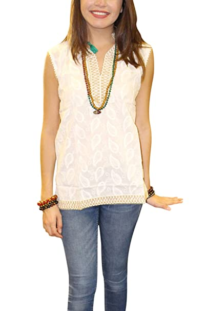 bc85d583e79 Image Unavailable. Image not available for. Color: Mogul Interior Womens  White Tunic Tank Top Embroidered Sleeveless Bohochic Cotton ...