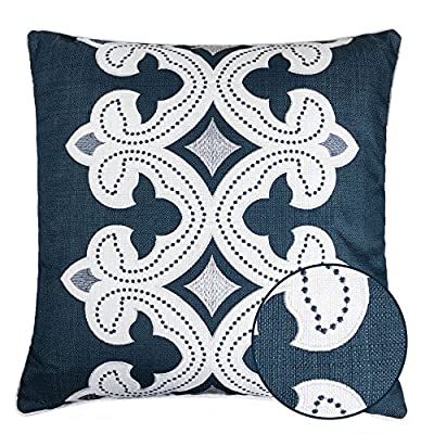 Homey Cozy Applique Throw Pillow Cover,Navy Series Modern Line Decorative Square Couch Cushion Pillow Case 20 x 20 Inch, Cover Only - Top quality and stylish throw pillow | This beautiful cotton oversized pillow adds elegance to any living space.There are noble,elegant,retro,classic,stylish pattern,the woven thread stand out against the eggshell fabric background. Hidden zipper for easy removal | At the end of the cushion cover there is a smooth hidden zipper that allows easy insertion or removal.Careful select top brand zipper with high-end quality for stronger and more durable everlasting for your bedroom or living room decoration. Durable polyester fabric | Durable 100% polyester pillowcases,the fabric is thick,high quality,soft,breathable environmental protection.Well contexture fabric is skin-friend,comfort and soft. - living-room-soft-furnishings, living-room, decorative-pillows - 61DxstxQVmL. SS400  -